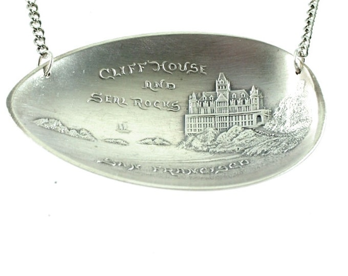 Cliff House, Sterling Silver Spoon Pendant, San Francisco Jewelry, 1896-1907 Incarnation, 925 Spoon Bowl Pendant, California Jewelry (P8000)