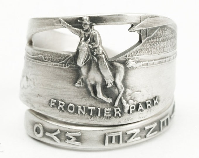 Wyoming Cowboy on Horse Roping a Bull Souvenir Sterling Silver Ring, Frontier Park Cheyanne , Handcrafted Gift, Customized Ring Size (7187)