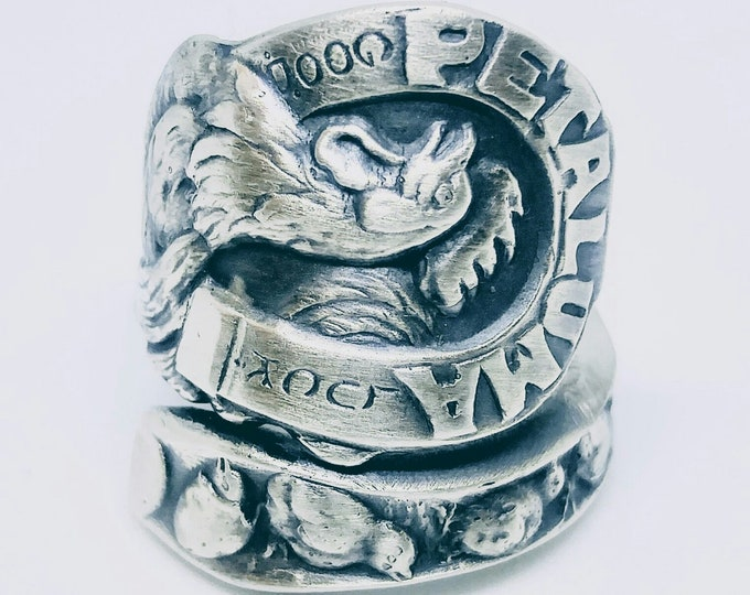 Good Luck Ring, Chicken Ring, Sterling Silver Spoon Ring, Lucky Horseshoe Ring, Petaluma California, Hens and Chicks, Adjustable Ring (6653)