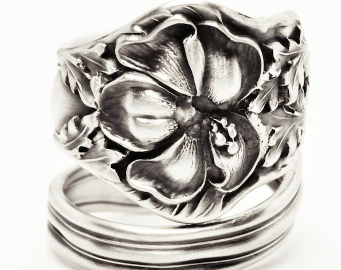Hibiscus Flower Spoon Ring, Hibiscus Jewelry, Sterling Silver Hawaiian Ring, Handmade Jewelry, Flower Spiral Ring, Adjustable Ring Size 7618