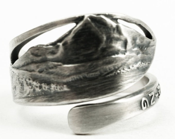 Tiny Grand Teton National Park Ring, Sterling Silver Spoon Ring, Vacation Upcycled Recycled Repurposed, Gift for Under 30, Adjustable (7242)