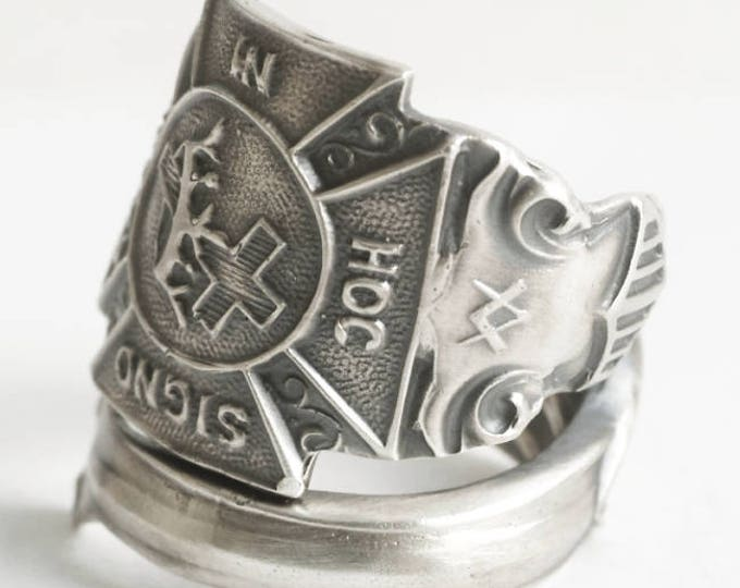 Knights Templar Ring, Masonic Ring, Sterling Silver Spoon Ring, Freemason Ring, Handmade Mens Ring, Medevil Ring, Adjustable Ring Size, 4602