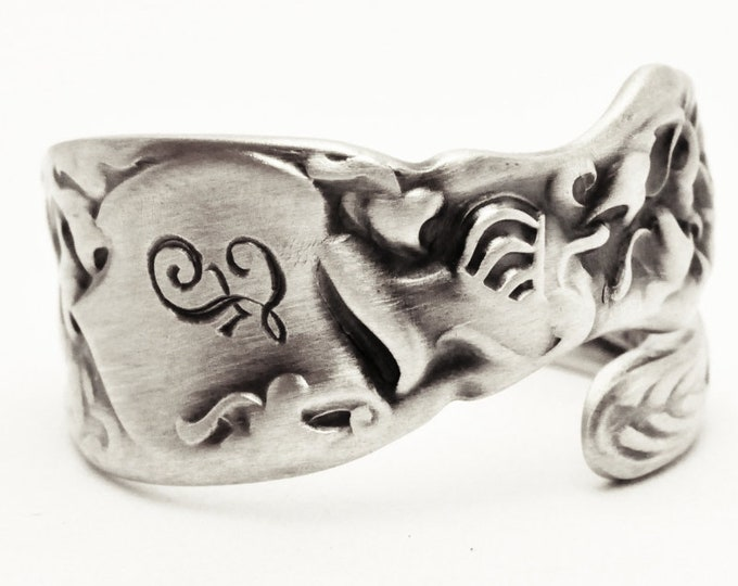 Small Heraldic Knight Sterling Silver Spoon Ring, Mideavil Jewelry, Mono F, Antique Whiting Silver 1880, Handmade Adjustable Ring Size, 7604