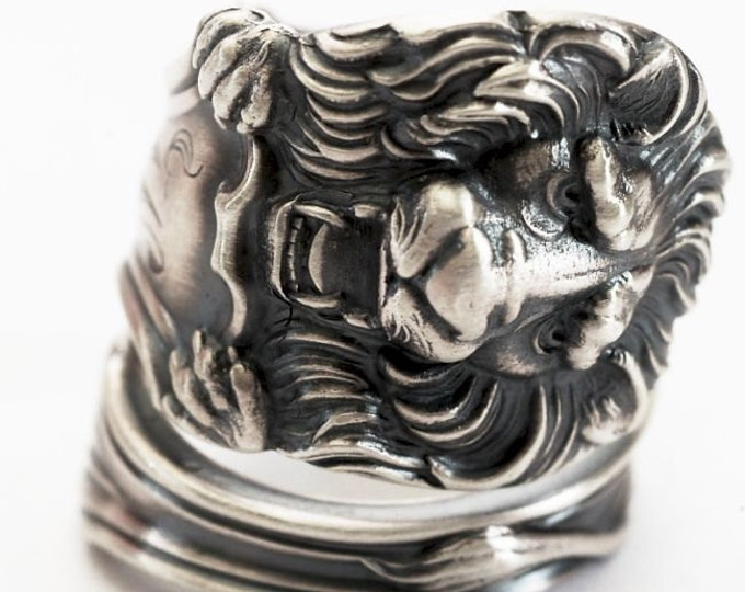 """Victorian Lion Ring, RARE Frank Smith, Sterling Silver Spoon Ring, Big Cat Lover, Mono """"W"""", Gift for Him or Her, Adjustable Ring Size (7620)"""