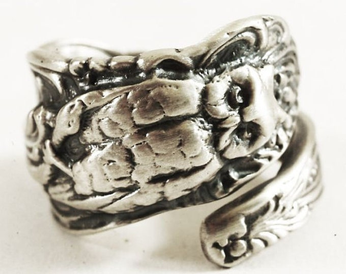Silver Owl Ring, Sterling Silver Spoon Ring, Owl and Snake, Wise Owl, Bird Ring, Eco Friendly, Handcrafted Jewelry Adjustable Ring Size 3229