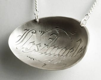Vintage Los Angeles Pendant, Sterling Silver Spoon Necklace, City of Angels, Los Angeles Pride, LA Necklace, California Gift for Her (P6825)