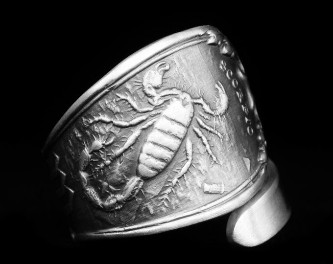 Scorpio Zodiac Ring, Sterling Silver Spoon Ring, Scorpion Ring, Horoscope Astrology Ring, October Novermber Birthday, Adjustable Size (8072)