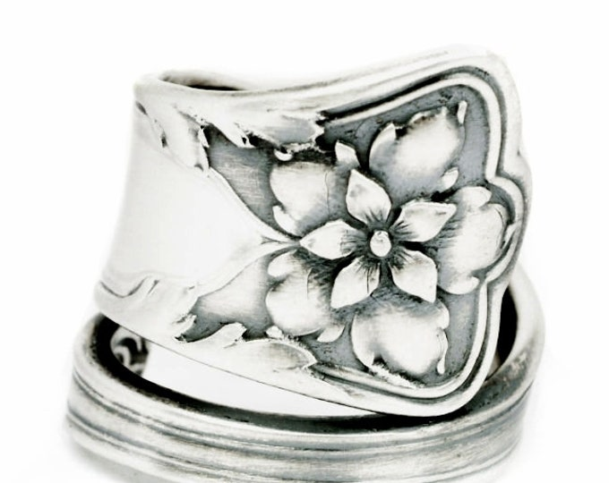 Columbine Flower Ring, Sterling Silver Spoon Ring, Gorham Silver, Antique Spoon Atlanta ca 1910, Floral Spoon Ring, Custom Ring Size (7126)