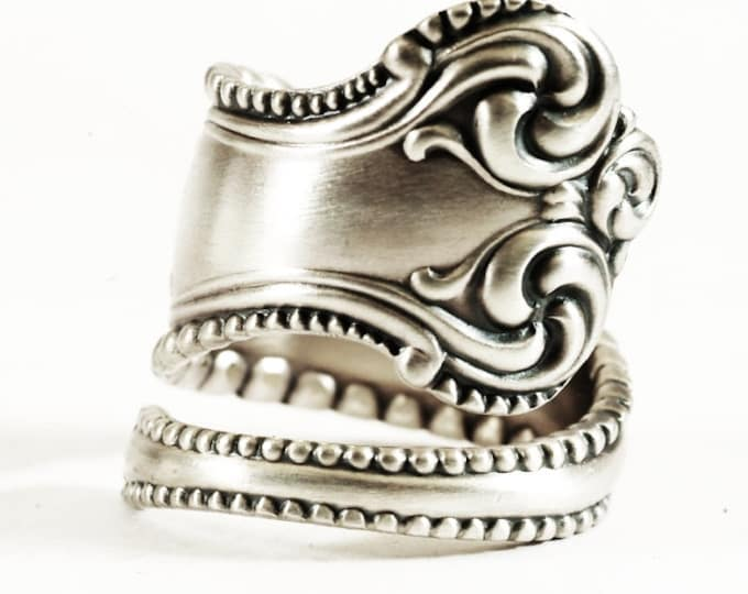 "Florentine Victorian Spoon Ring Milgrain in an Ornate Sterling Silver Towle ""Canterbury"" Pattern of 1893, Handmade & Adjustable Size (6260)"