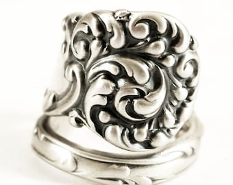 "Spoon Ring Victorian Rococo with Personalized Ring Size by Reed and Barton ""La Reine"" of 1893 in Sterling Silver, Handmade Ring (6506)"