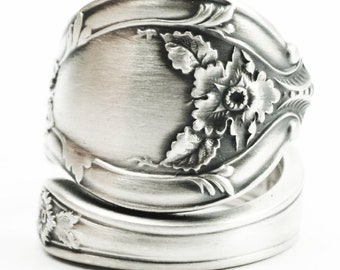 Victorian Floral Spoon Ring in Sterling Silver,Forget Me Not Flower with Rococo Swirl Ring, Gorham No 567 ca 1900, Custom Ring Size (7361)