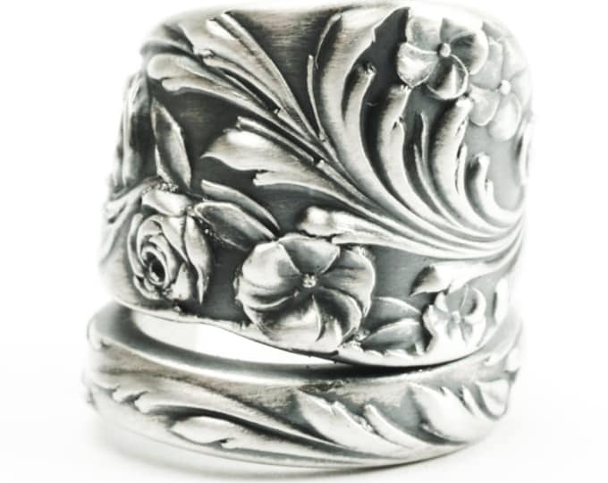 Ornate Floral Spoon Ring, Reed & Barton Swirls and Wild Roses, Handcrafted Sterling Silver Gift for Her Gardner, 925 Custom Ring Size (7368)