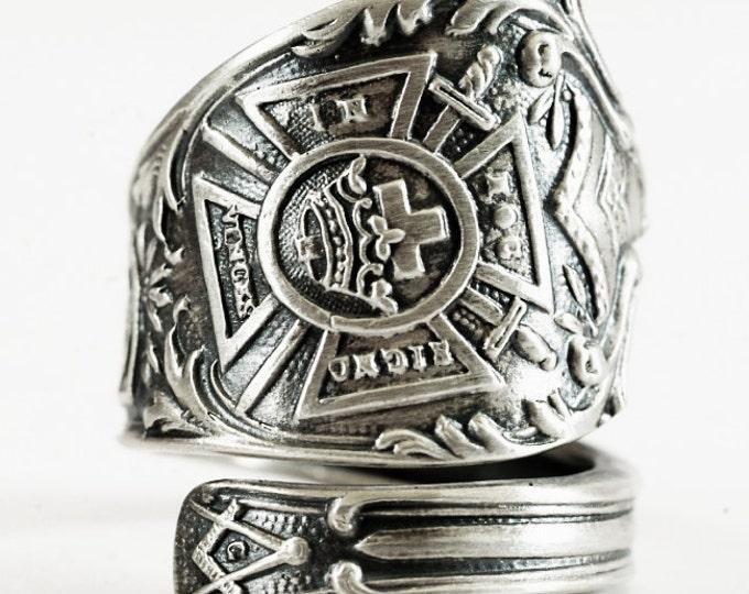 Knights Templar Ring, Masonic Ring, Sterling Silver Spoon Ring, Freemason Ring, Handmade Mens Ring, Medevil Ring, Adjustable Ring Size, 1533