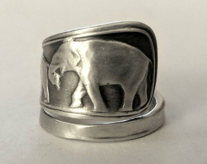 Elephant Ring, Sterling Silver Spoon Ring, Elephant Family Ring, Animal Jewelry, Animal Ring, Silver Boho Ring, Elephant Lover Gift (6792)