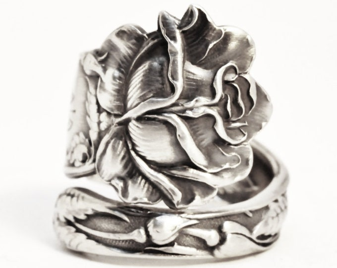 Silver Bridal Rose Ring, Sterling Silver Spoon Ring, Antique Alvin Spoon 1903, Engraved R K, Handmade Gift for Her, Custom Ring Size (7502)