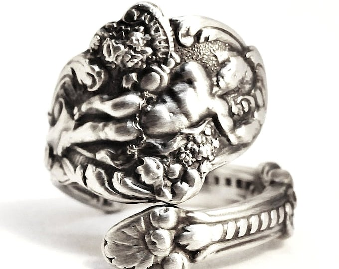 Dionysus God of Wine Ring Gift for Her, Sterling Silver Spoon Ring, Antique 1888 Gorham Versailles, Art Nouveau, Adjustable Ring Size (7514)