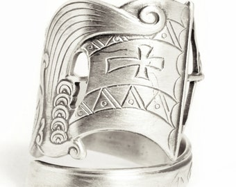 Nordic Sailboat Ring, 830 Norse Sterling Silver Spoon Ring, Nautical Gift, Norge Boat, Antique Norse Ship at Sea, Adjustable Ring Size, 7528