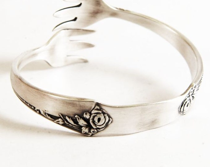 Exclusive Damask Rose Claw Spoon Cuff Bracelet, Sterling Silver Oneida Bangle Bracelet, Gift For Mom, Flatware Jewelry, Adjustable Size 7418