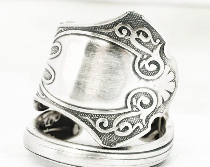 925 Antique Spoon Ring in Vintage Georgian Design, Sterling Silver Dpoon Ring, Whiting 1880 Alhambra, Handmade Gift, Adjustable Size (7162)