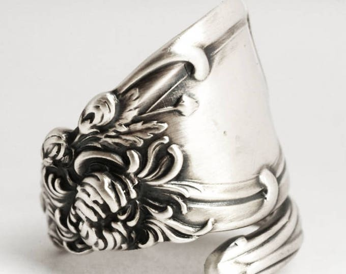 Chrysanthemum Ring, Chrysanthemum Flower, Sterling Silver Spoon Ring, Reed & Barton, Flower Lover Gift for Her, Adjustable Ring Size (6836)