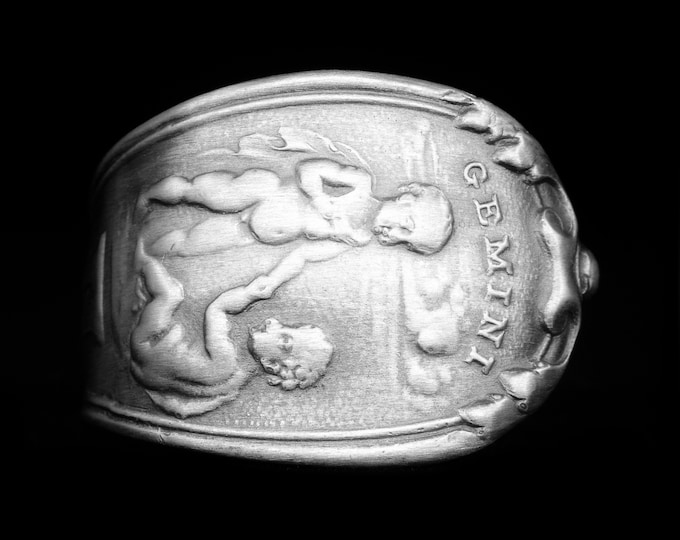 Gemini Ring, Sterling Silver Spoon Ring in Size 8, Twins Zodiac Astrology Ring, May or June Birthday Gift for Her, 925 Horoscope Ring (8076)