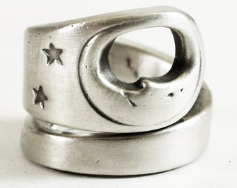 Man in the Moon Ring, Sterling Silver Spoon Ring, Moon Face, Moon and Stars, Nersery Rhyme Ring, 925 Adjustable Ring Size 5 6 7 8 9 (1352)