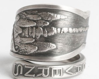 New Mexico Ring, Sterling Silver Spoon Ring, Carlsbad Caverns, Caving, Spelunking, Handmade Gift, Nature Lover, Adjustable Ring Size (6511)