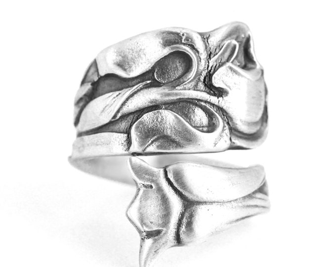 Iris Spoon Ring, Antique Sterling Silver Spoon Ring, Art Nouveau Large Floral Iris Flower, Iris by Whiting ca 1885, Adjustable Size (7642)