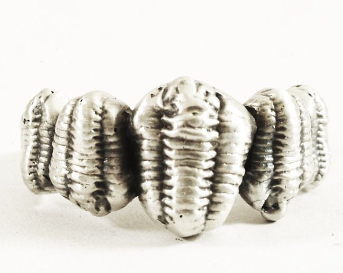 Awesome Sterling Silver Trilobite Ring, Calymene Trilobite Fossil, Family of Five Ring in 925 Sterling Silver, Men's Ring, Custom Ring Size