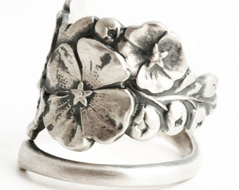 Floral Hollyhock Ring, Spoon Ring Sterling Silver, Hollyhocks Art Flower, Adjustable Ring Size 925 Silver Floral, Unique Promise Ring (6901)