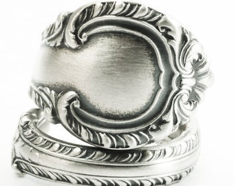 Sterling Silver Spoon Ring, Elegant Victorian Ring, Vintage Gorham 1939 English Gadroon, Rococo Handmade Ring, Adjustable Ring Size (7339)