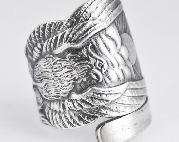 Wide Phoenix Rising Ring, Sterling Silver Spoon Ring, Handmade Jewelry, Phoenix Wings, Pheonix, Gift for Him or Her, Adjustable Ring (7621)