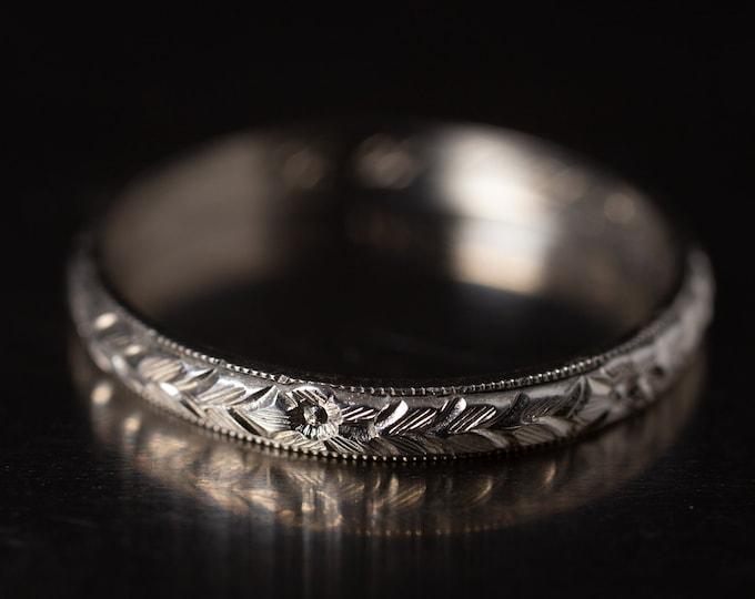 Antique Art Deco 18K BELAIS Ring, White Gold Wedding Ring, 2.5 mm Etched Stacking Band, Designer Ring, Ladies Flower Ring, Size 8.25 (V7847)
