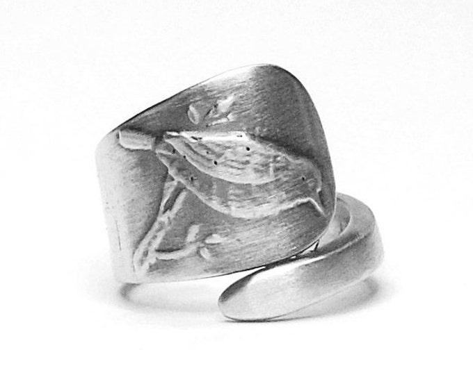 Wren Bird Ring, Sterling Silver Spoon Ring, Bird Lover Gift for Her, Small Animal Ring, Handmade and Adjustable Ring Size 4 5 6 7 8 (4321)