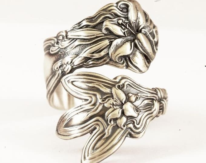 Silver Tiger Lily Ring, Sterling Silver Sugar Tong Ring, Stargazer Lily with Claw, Frontenac Floral Ring, Size 9 10 11, Gift For Her (7784)