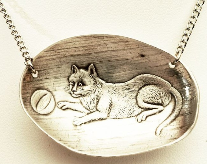 """Sterling Kitty Cat Necklace, Sterling Silver Spoon Pendant, Handmade Upcycled Gift for Her, Animal Spoon Necklace, 24"""" Stainless Chain (P94)"""