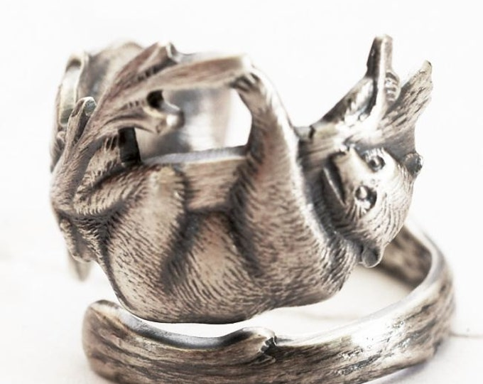 Bear Ring, Vintage Sterling Silver Spoon Ring, Playful Bears Climbing a Tree in 925, Anitque Paye & Baker, Handmade Adjustable Size (7531)