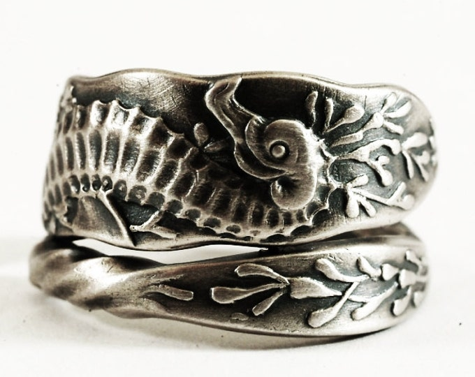 RARE Seahorse Ring, Sterling Silver Fork Ring, Beach Ring, Sea Life Spoon Ring, Antique Whiting 1902, Gift for Dad, Adjustable Size (7141)