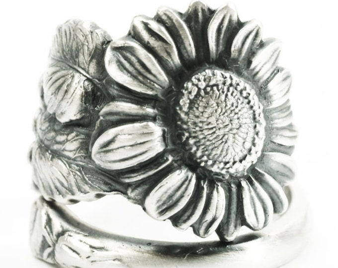 Sunflower Ring, Sterling Silver Spoon Ring, Art Nouveau, Sunflower Jewelry, Thumb Ring, Floral Ring, Flower Ring, Adjustable Ring Size, 7269