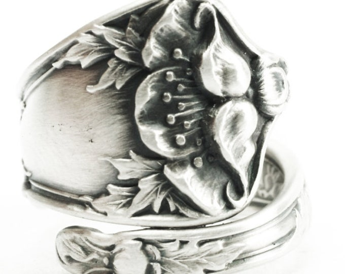 Petite Poppy Ring, Sterling Silver Spoon Ring, Art Nouveau Ring, California Poppy, Poppy Flower Jewelry, Adjustable Size, Manchester (7386)