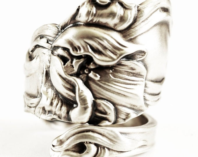 Sterling Silver Tulip Spoon Ring, Handmade Antique Art Nouveau Fessenden Spoon, Handcrafted Gift for Flower Lovers, Adjustable Size (7110)