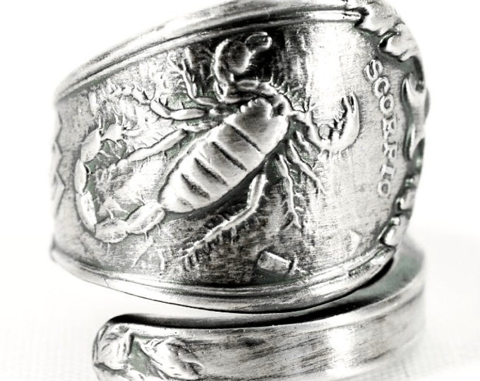 Scorpio Ring, Spoon Ring Sterling Silver, Zodiac Ring, Scorpion Ring, Handmade Gift, Custom Ring Size, Astrology Ring, Horoscope Ring (3153)