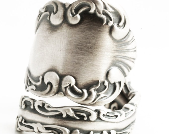 Wide Rococo Ring, Antique Sterling Silver Spoon Ring, Rococo Jewelry Whiting 1891 Louis XV, Silver Shell Ring, Adjustable Ring Size (5879)