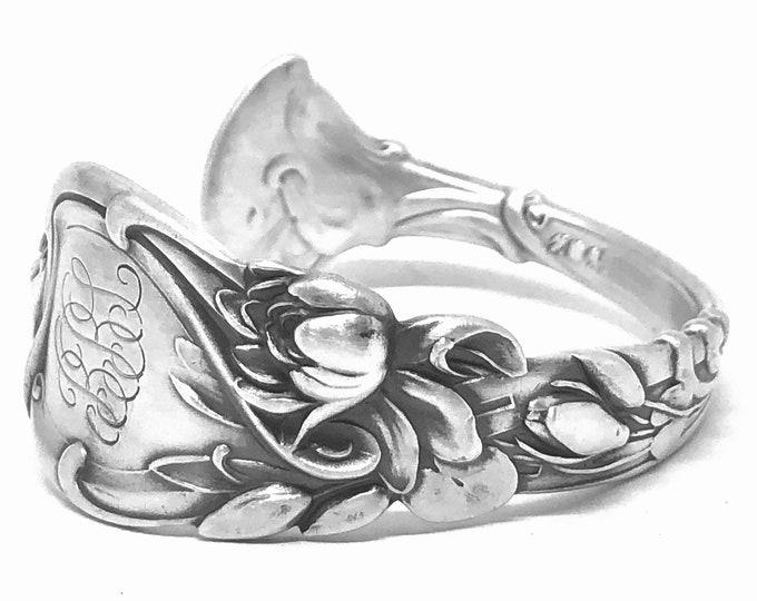 "Lotus Spoon Bracelet, Sterling Silver Water Lily, Engraved ""BBL"", Antique Spoon Bracelet, Flower Cuff, Size 5 6 6.25 (B7880)"