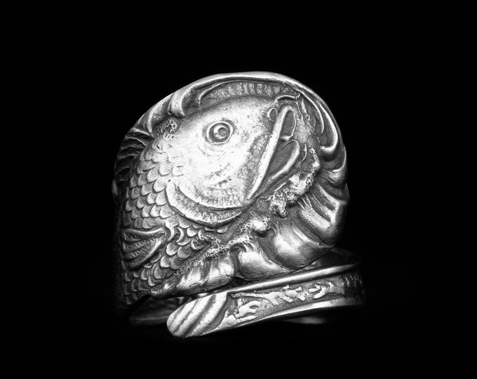 Fish Ring, Sterling Silver Spoon Ring, Fishing Gifts for Him or Her, Koi Fish, Eco Friendly Jewelry, Adjustable Ring Size 4 5 6 7 8 9 (7995)