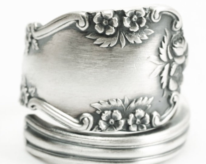 "Sterling Silver Wild Rose Spoon Ring, Floral Victorian Ring, Vintage International Silver ""Rosalind"" ca 1920, Adjustable Ring Size (7200)"