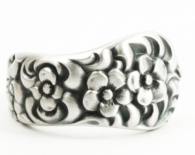 Floral Spoon Ring ,Rare Antique Forget Me Not Floral Sterling Silver Ring, Dominic and Haff Rococo ca 1888, Handmade, Ring Size 9.25 (7319)