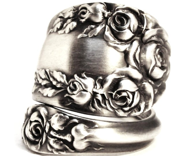 Victorian Rose Ring, Sterling Silver Spoon Ring, Antique Wallace Silver 1888, Handmade Gift for Her, Botanical, Adjustable Ring Size (7509)