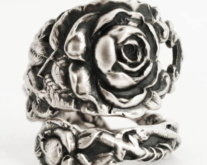 Tea Rose Ring, Sterling Silver Spoon Ring, Silver Rose Flower Ring, Floral Victorian Rose Silver, Gardener Gift, Adjustable Ring Size (6716)