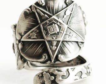 O.E.S. Spoon Ring, Order of the Eastern Star, Masonic Freemason, Sterling Silver, Ruth FATAL, Custom Ring Size, Order of Eastern Star (2827)